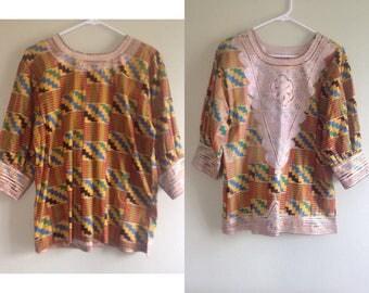 Authentic 60's Psychedelic Embroidered Daishiki - size small, medium, tunic, ultra mini dress