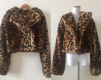 vintage 80's/90's PLUSH CROPPED leopard print COAT - small, medium