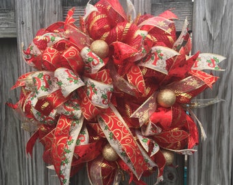 Red and Gold Christmas Wreath, Deco Mesh Christmas Wreath, Christmas Wreath for Front Door