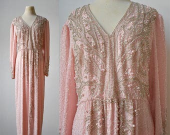 Vintage Beaded Gown / Pink Formal Beaded Gown / Pink and Silver Ball Gown / Ballroom Dancer Dress / Mother of the Bride / 1980s Beaded Gown