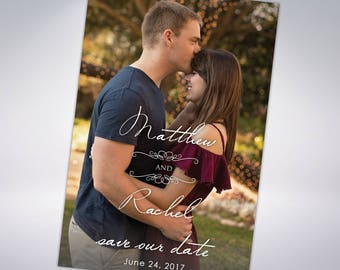 Engagement Photo Save The Dates with Matching Pearlescent Envelopes; wedding announcements, custom save the date cards