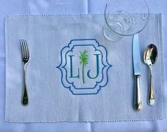 Two Initial Palm In Moroccan Frame Monogram 100% Cotton Placemat With  Custom Colors
