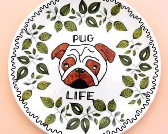 Pug Life Gift for Animal Lover Vintage Upcycled Plate Funny Dog Present Ornamental Thug Ring Dish Decorative Trinket Box Jewellery Holder