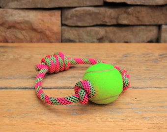 Climbing Rope Dog Toy // Tennis Ball Dog Toy // Tough Tug Toy