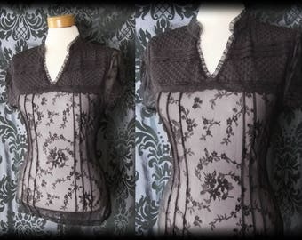 Gothic Brown High Neck Lace Bib GOVERNESS Sheer Blouse 6 8 Victorian Vintage