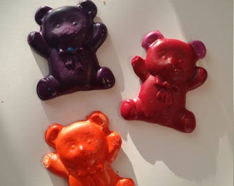 Set of 10 jumbo teddy bear crayons-  Birthday  - slumber Party favor crayons