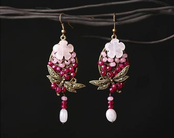 BE008 Antique Vintage Style Boho-Chic Dragonfly Pink Glass Beads Rose Quartz Dangle Hook Earrings