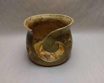 YARN BOWL - Salt Buff Reverse Spiral Cut - Hand Made Ceramic #809