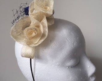New Gorgeous cream and blue sinamay flowered fascinator on a metal headband!