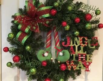 Christmas Wreath:  Elf Leg Wreath in Glittering Red and Lime Green, Holiday Wreath, Christmas Decoration, Elf Wreath, Door Decor