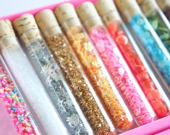9 x Confetti / Sprinkles Glass Test Tube With Cork Stopper