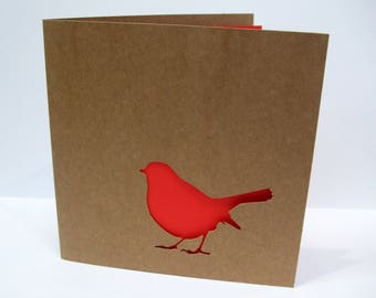 Christmas Card - Paper Cut Robin - Paper Handmade Greeting Card - Holiday Card - Kraft Card - Recycled Card - Robin Christmas Card