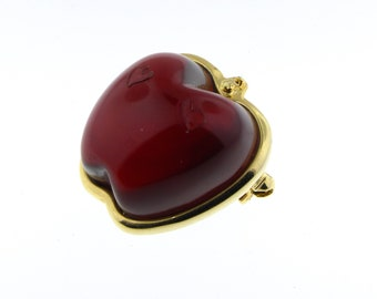 """Vintage Anne Klein APPLE Brooch Pin / Red Lucite Jelly Belly Apple Gold Tone Pin / 70s 80s 1"""" x 1"""""""