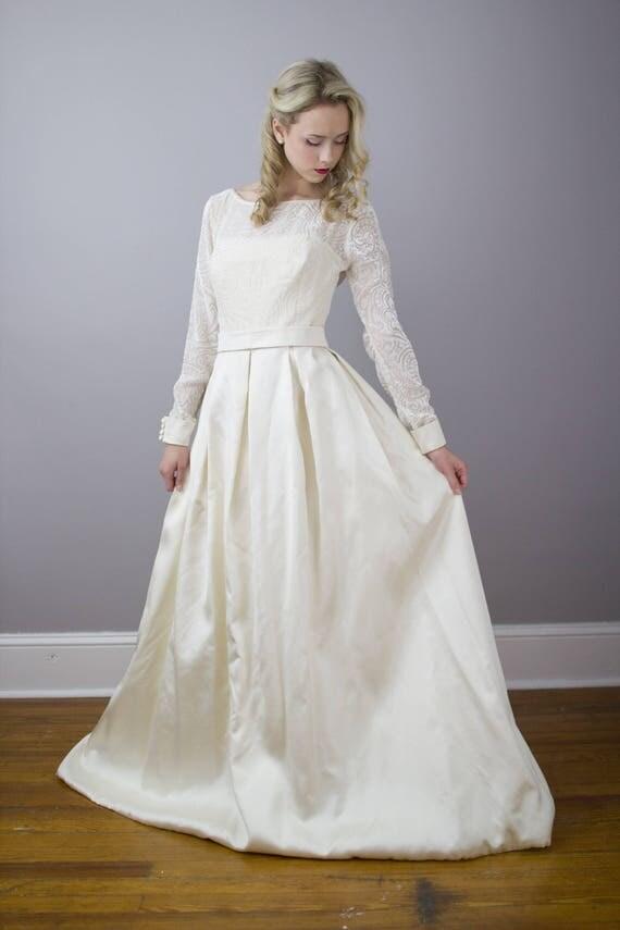 House Of Bianchi Designer Vintage Wedding Gown Devore Velvet Burnout Size Medium