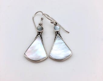 Sterling Silver and Mother of Pearl Triangular Dangle Earrings
