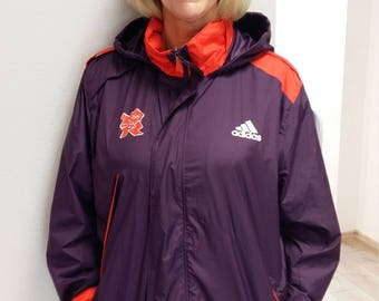 London Olympic 2012 games Maker official Jacket, purple Olympic jacket, all-weather jacket, wet-weather hood, Olympic Raincoat, L size