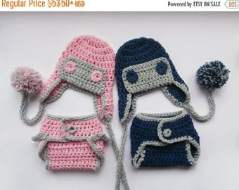 ON SALE 20% DISCOUNT Newborn  Twins Outfits - Aviator Hat and Diaper Cover for Twins - Newborn Boy Girl Twins Outfits