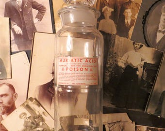 Vintage Muriatic Acid glass  poison bottle