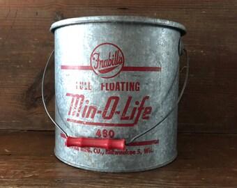 Vintage Min-O-Life floating minnow bucket