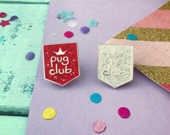 Glitter pug pins gift, pug pin, pug gift set, Pug Club lapel pin, pug, pug gift, pug brooch, pug pin, enamel pin, glitter pin badge