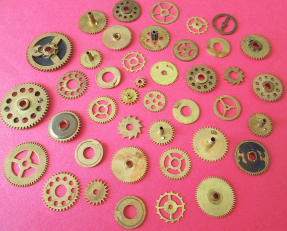 42 Assorted Antique & Vintage Solid Brass Clock Wheels and Gears for your Clock Projects - Steampunk Art - Metalworks - Altered Art  Etc...