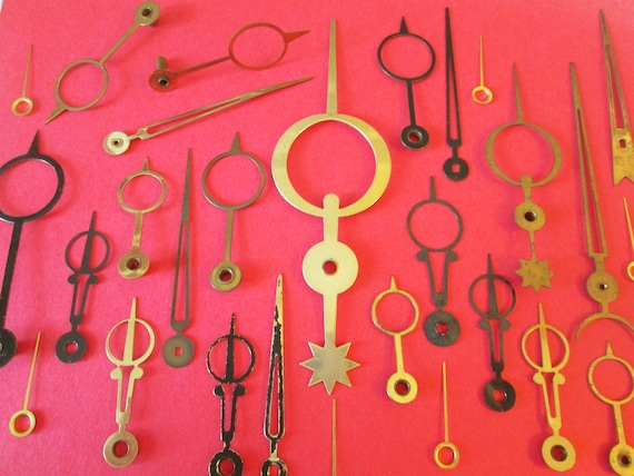 22 Assorted Antique & Vintage Brass and Steel Moon Design Cock Hands for your Clock Projects, Jewelry Making, Steampunk Art, Crafts + Etc...