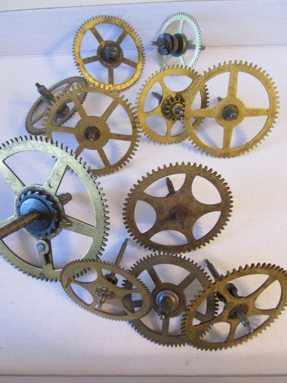 12 Large Assorted Solid Brass and Steel Antique Clock Wheels and Gears for your Clock Projects - Steampunk Art & Metalworking