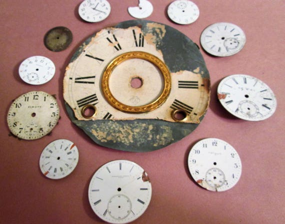 Very Distressed Antique Ansonia Clock Dial with Assorted Vintage Watch Dials for your Clock/Watch Projects - Steampunk ARt - Jewelry Making.