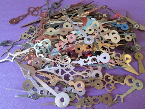 170 Assorted Vintage & New Mixed Metals Clock Hands for your Clock Projects, Jewelry Making, Steampunk Art, Crafts  Etc....