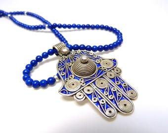 Lapislazulikette with Hamsa pendant from Morocco, long blue chain, Fatima's hand