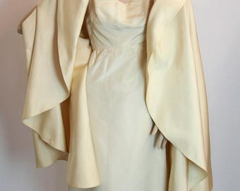 ON SALE 1950s 60s Vintage Couture Pauline Trigere Cream Silk Wiggle Dress and Cape with arm slits, S