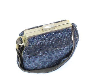 Vintage 1930s Beaded Box Purse Handbag Navy Blue Sequins
