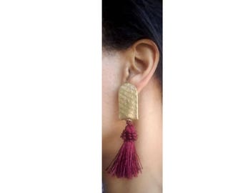 Gold & Maroon Snake Skin Tassel Earrings