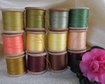 Vintage Sylko Sewing thread Wooden Spools 12 reels near full Citrus Shades Yellow, Lime, Orange, Brown. Vintage cotton 1940s-60s Wood Spools