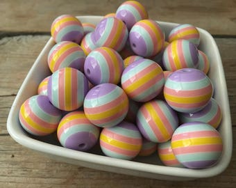 20mm Spring Striped Chunky Bead, Pink Purple Yellow Blue Bubblegum Bead, Easter Acrylic Bead, DIY Chunky Necklace, 10 Count, Princess