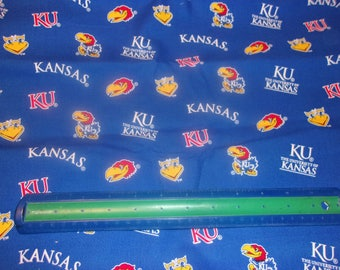 Kansas Jayhawks NCAA Cotton Fabric 1/2 Yard Cut New