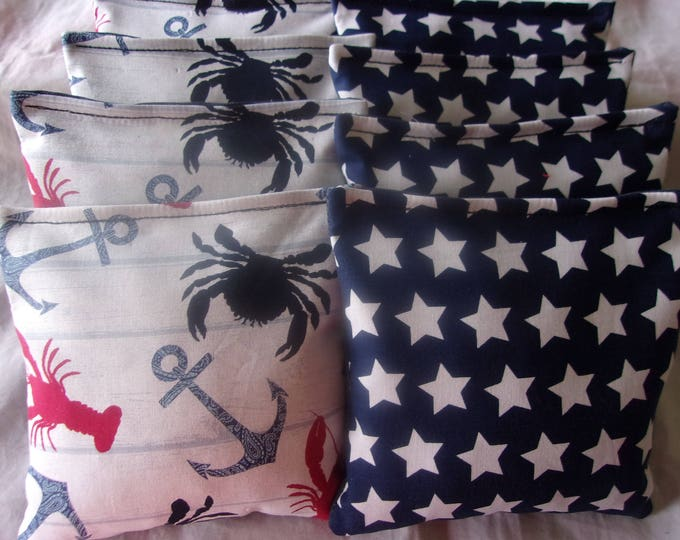 8 ACA Regulation Cornhole Bags - Lobsters Crabs Anchors & White Stars on Blue