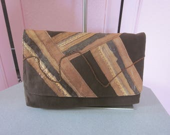 """1980s Brown Linen Clutch with Snakeskin Applique by """"Valerie"""""""