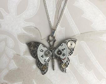 Steampunk Necklace, Steampunk Butterfly Necklace, With Vintage Mechanical Watch Parts, Butterfly Pendant