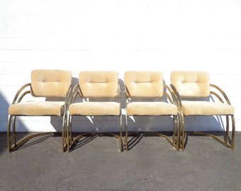 Set of Chairs 4 Armchairs Dining Milo Baughman DIA Gold Brass Mid Century Modern Hollywood Regency MCM Retro Vintage Chair Seating Boho Chic