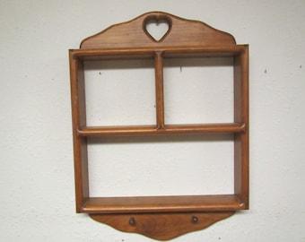 Wood shadow box with 2 pegs , Wall Shelf  , Rack, wood shelf , Display Curio, shadow box, 3 section shelf