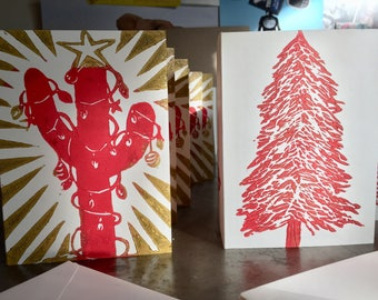 Christmas / Holiday greeting cards 10- pack with 2 Designs: fir tree and Christmas cactus in red and gold