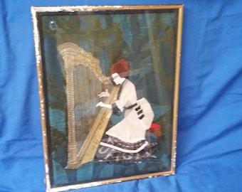 Vintage Collage Needlework of Harp Harpist. Musician