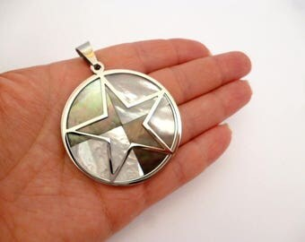 """DOUBLE Stainless Steel and nacre Charm pendant_NAC5401/65984_ Star Nacre of 50 mm /1,97 """"_ pack 1 pcs"""