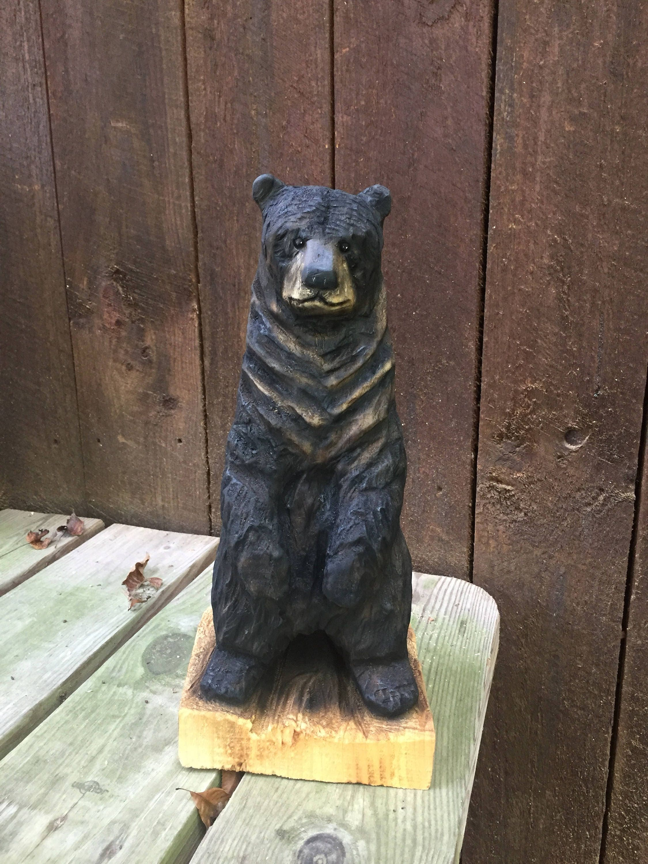 Bear wood carving chainsaw handmade woodworking