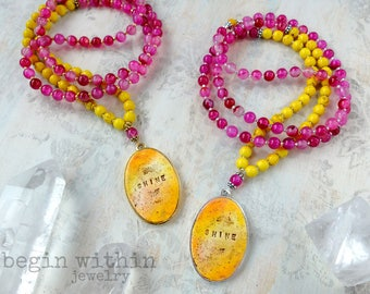 Pink Agate Mala Beads Customized with Your Text | Meditation Necklace | Meditation Jewelry