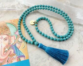 Turquoise Mala Beads | Turquoise Tassel Necklace | 108 Mala Beads in Turquoise Magnesite | Prayer Beads