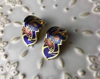 Enamel Blue Oriental Earclips
