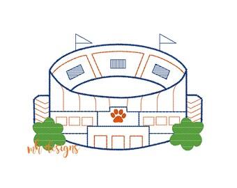 Jordan-Hare stadium embroidery design in 4 sizes, Vintage stitch football stadium, Auburn embroidery file, Bean stitch Jordan Hare stadium