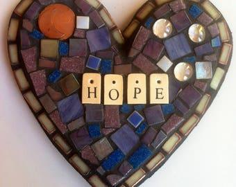 Hope Mixed Media Mosaic Heart-Purple & Blue Home/Garden Decor